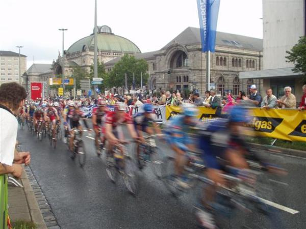 A major bike race in front of the train station