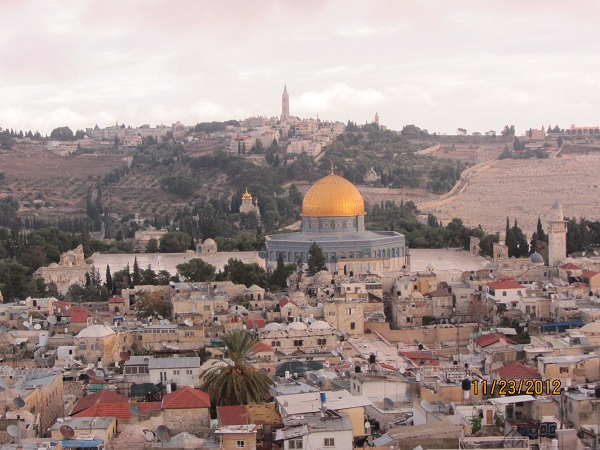 Dome on the Rock and Mount of Olives from Redeemer Lutheran